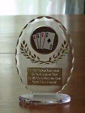 """Poker/Card Playing/Blackjack 6 1/2"""" Acrylic Award Trophy FREE engraving"""