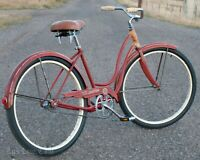 Vintage 1958 Red / Orange Ladies Schwinn Deluxe Spitfire Bicycle Cruiser Bike S7