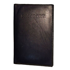 Black Genuine Leather Passport Cover Travel Document Bifold Wallet New