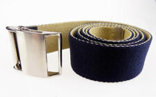 New mens unisex reversible BLUE BEIGE quality web belt 44 inches long Size S/M