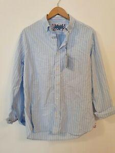 BEAUFORT & BLAKE Portesham Sky Striped Oxford Shirt Size M
