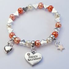 RETIREMENT charm bracelet birthday gift bag/tag 30+ colour choice SO PRETTY!