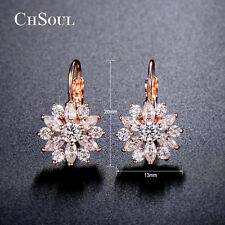 Women Snowflake Marquise Crystal CZ Drop Dangle Earrings Gold GP Lady Jewelry