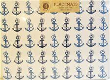 Set / 4 Benson Mills Cork Placemats Boating Anchors Blue White Rectangular