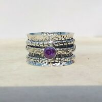 Amethyst Ring 925 Sterling Silver Spinner Ring Meditation Statement Jewelry A484