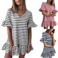 Women's V-neck Striped Dress Ladies Summer Short Sleeve Ruffle Mini Dresses UK