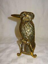 """Antique Detailed Cast Brass 7.25"""" Fireside Ornament - Bird / Kingfisher"""
