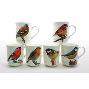 BRAND NEW FINE BONE CHINA SET OF 6 BIRDS A DESIGN MUGS