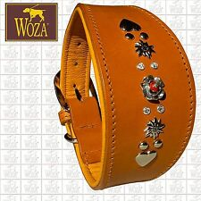WOZA Premium Windhund Halsband 925er Silber Vollleder Greyhound Rindnappa HG6945