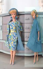 Handmade Vintage Barbie Clothes Floral Dress Set with Reversible Coat and Hat!