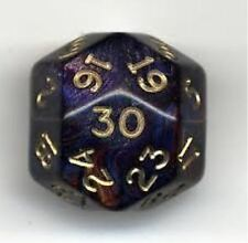 Chessex 25mm Jumbo Shimmer Purple with Gold D30 Dice Triantakohedron CHX XH3017