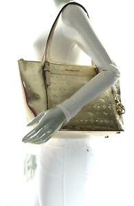 NWT$398.00 Michael Kors Ciara Large EW MK Mirror Metallic Leather Tote Pale Gold