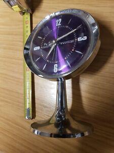 Vintage Big Ben Repeater Chrome Pedestal Purple Dial Clock By Westclox