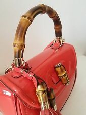 AUTHENTIC GUCCI CORAL PATENT LEATHER BAMBOO TURN LOCK SHOULDER BAG HANDBAG