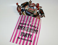 Personalised Engagement Party Sweet Bags Printed Party Bags Candy Striped