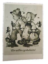Vintage Hummel Postcard #14094, Greeting, Buff, Deckled Edge,RARE, Unused