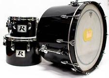 Vintage Gretsch 4247 and Rogers Big R USA 3 Piece Concert Drum Set - Black