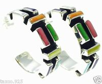 TAXCO MEXICAN STERLING SILVER MULTI INLAY HOOP EARRINGS MEXICO