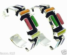 Inlay Hoop Earrings Mexico Taxco Mexican Sterling Silver Multi