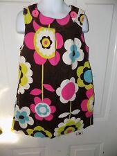 Mini Boden Brown Flower Jumper Corduroy Dress Size 5/6Y Girl's EUC