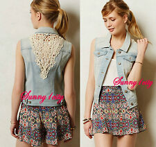 NEW Sz L Anthropologie Pilcro Laced Denim Vest By Pilcro, Effortless and Chic!