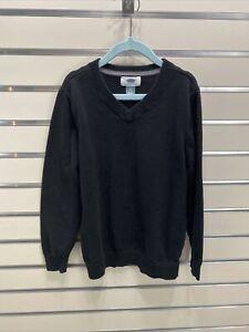 OLD NAVY Boys SZ. S 6-7  Black V Neck Long Sleeve Cotton Knit  Pullover Sweater