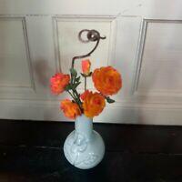 Handmade Dollhouse Miniature Orange Roses - OOAK - Handmade Vase - 1:12 Scale