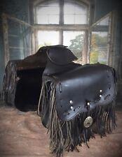Ancienne paire de sacoches cavalière cuir épais à franges - Jacquin ideal Harley