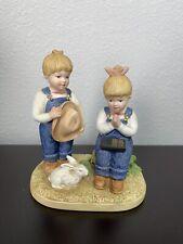 1985 Denim Days by Homco Home Interiors Praying Holy Bible Figurine #8867