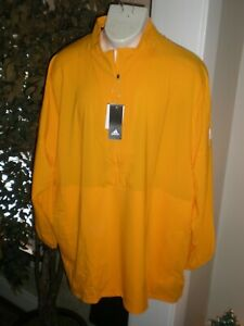 ADIDAS YELLOW-GOLD L/S 1/2 ZIP PERFORMANCE PULLOVER TOP W/SIDE POCKETS  SZ:3XL
