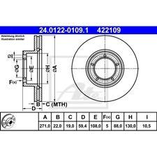 ATE Original 24.0122-0109.1 Bremsscheiben 2 Stk vorne OPEL Vorderachse belüftet