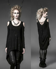 Punk Gothic Rock Black Long Cardigan Tee Shirt Top Visual Kei Women fashion P025