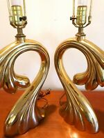 PAIR of Vintage Pierre Cardin Sculptural Brass Table Lamps MID-CENTURY MODERN