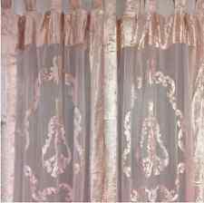 2 Vintage Pink Velvet & Lace Hamptons Country Window Curtain Panel Drape Drapery