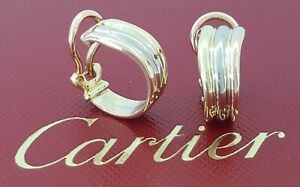 Cartier Vintage 18K Yellow White & Rose Gold Huggie Ear-Clip Earrings 7.8 grams
