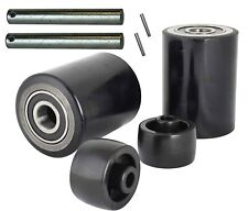 """Pallet Jack/Truck Load Wheels Full Set with Axles & Rollers 3"""" x 3.75"""" Black"""