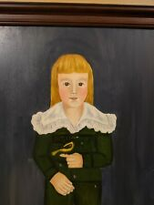 """American folk art painting, """"Boy with a Finch"""" Signed"""