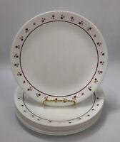 """Set of 10 Corelle Corning BURGUNDY ROSE White Red Stripe Dinner 10.25"""" Plates AA"""