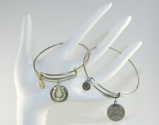 Lucky Brass & Silver Tones Wire Bangle / Bracelet with a Horseshoe Charm Unisex