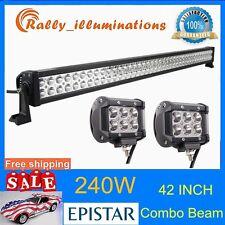 42''240W LED Light Bar Flood Spot Combo Offroad 4WD SUV Boat Driving Lamp 18W