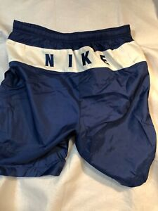 Vintage 90s Nike Men's Swim Board Shorts Trunks Spellout Logo Blue Large