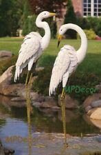 "Coastal White Crane Pair Garden Statues Egret Heron Bird Sculptures Yard Art 44"""