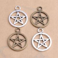 Tibetan Silver Ring Star Pentagram Charm Bracelet Pendant Jewelry Findings #7