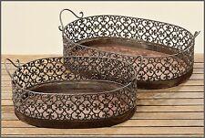 SHABBY CHIC - Tablett rund Gr. M Vintage Landhausstil Holz/Metall 50 cm br *NEU*