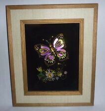 Vintage Mid Century Jeweled Butterfly Art Wall Hanging Framed