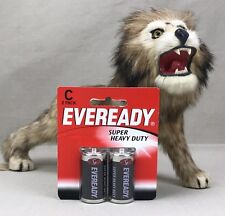 EVEREADY Vintage C Batteries in Package 9 Lives Cat Logo Super Heavy Duty R14