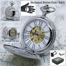 Silver Mechanical Pocket Watch Big Polish Brass Case Gold Skeleton Chain Box P42