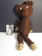 ANTIQUE TEDDY BEAR TOY DOLL AMERICAN FOLK ART ANGEL GIRL OWNER PHOTOGRAPH RARE