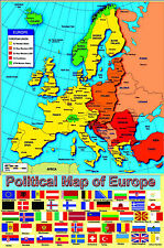 HUGE LAMINATED POLITICAL MAP OF EUROPE EUROPEAN POSTER + FLAGS wall chart new