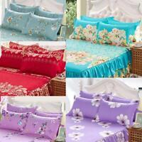 Home Flower Floral Bed Skirt Pillowcase Dust Ruffle Bedspread Queen Size Bedding